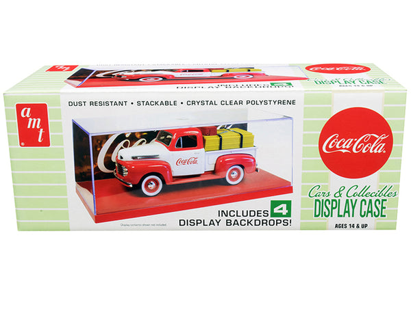 "Collectible Display Show Case with Red Display Base and 4 ""Coca-Cola"" Display Backdrops for 1/24-1/25 Scale Diecast Model Cars by AMT"