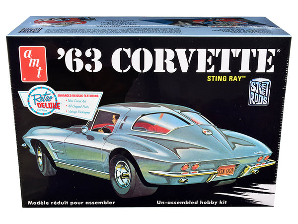 1963 Chevrolet Corvette Stingray Plastic Model Kit (Skill Level 2) 1/25 Scale Model by AMT