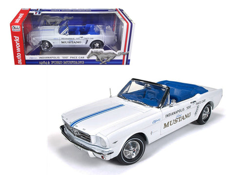 "1964 1/2 Ford Mustang Convertible 289 V8 ""Indy 500"" Pace Car Limited to 1500pcs 1/18 Diecast Model Car by Autoworld"