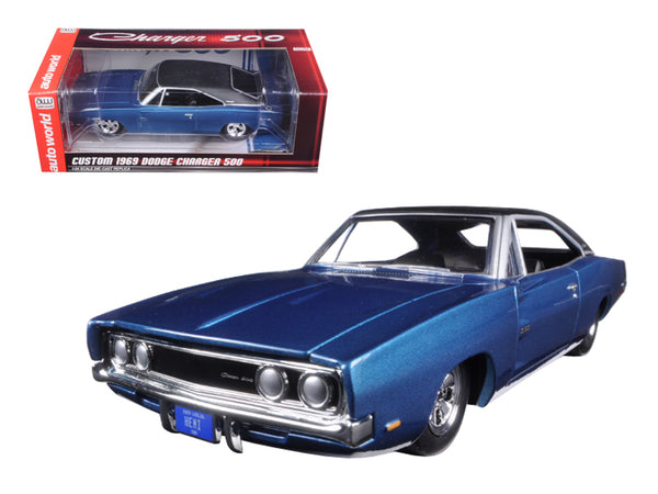 Custom 1969 Dodge Charger 500 Blue Poly 1/24 Diecast Model Car by Autoworld