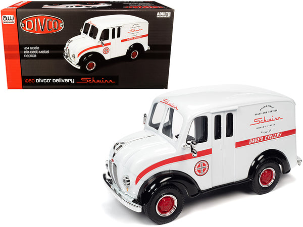 "1950 Divco Delivery Truck ""Schwinn"" White with Red Stripe 1/24 Diecast Model by Autoworld"