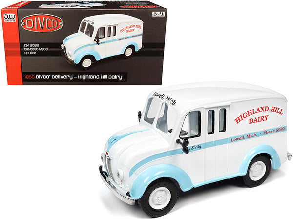 "1950 Divco Delivery Truck ""Highland Hill Dairy"" White and Blue 1/24 Diecast Model by Autoworld"