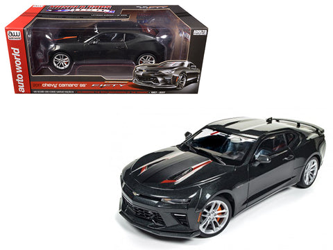 "2017 Chevrolet Camaro SS Nightfall Gray Metallic ""50th Anniversary"" Limited Edition to 1002pcs 1/18 Diecast Model Car by Autoworld"