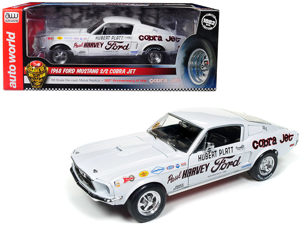 "1968 Ford Mustang S/S Cobra Jet Hubert Platt ""Class of 68"" 50th Anniversary of the Ford Cobra Jet Limited Edition to 1002 pieces Worldwide 1/18 Diecast Model Car by Autoworld"