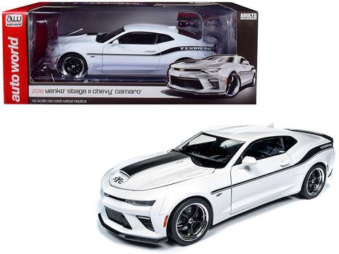 2018 Chevrolet Camaro Yenko/SC Stage II Coupe White with Black Stripes Limited Edition to 702 pieces Worldwide 1/18 Diecast Model Car by Autoworld