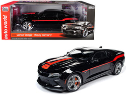 2018 Chevrolet Camaro Yenko/SC Stage I Coupe Black with Orange Stripes Limited Edition to 300 pieces Worldwide 1/18 Diecast Model Car by Autoworld