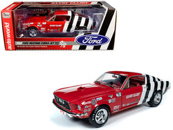 "1968 Ford Mustang Cobra Jet Super Stock ""Sandy Elliot Performance Center"" 1/18 Diecast Model Car by Autoworld"