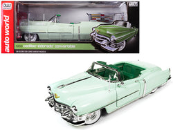1953 Cadillac Eldorado Convertible Gloss Light Green with Dark Green Interior 1/18 Diecast Model Car by Autoworld