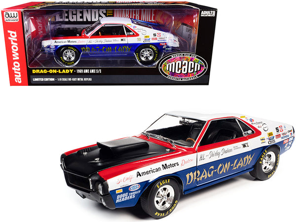 "1969 AMC AMX S/S ""Drag-on-Lady"" ""Legends of the Quarter Mile"" MCACN (Muscle Car & Corvette Nationals) 1/18 Diecast Model Car by Autoworld"