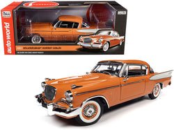 1957 Studebaker Gold Hawk Coppertone Orange and White 1/18 Diecast Model Car by Autoworld