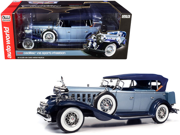 1932 Cadillac V16 Sports Phaeton Metallic Light Silver Blue and Enamel Dark Blue 1/18 Diecast Model Car by Autoworld