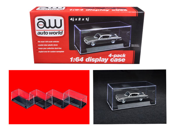 4 individual collectible display show cases for 1/64 scale model cars by Autoworld