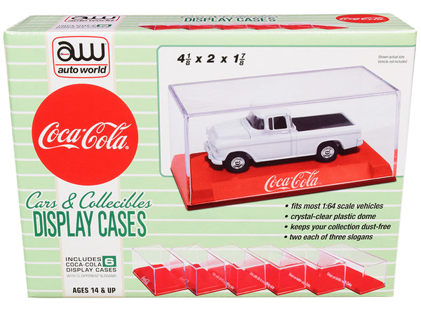 "6 Collectible Acrylic Display Show Cases with Red Plastic Bases with 3 Different ""Coca-Cola"" Slogans for 1/64 Scale Model Cars by Autoworld"