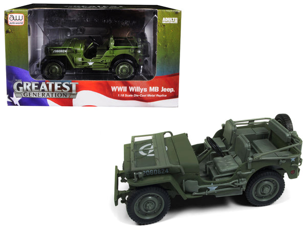 1941 Willys MB WWII US Army Jeep Olive Green Drab 1/18 Diecast Model Car by Autoworld