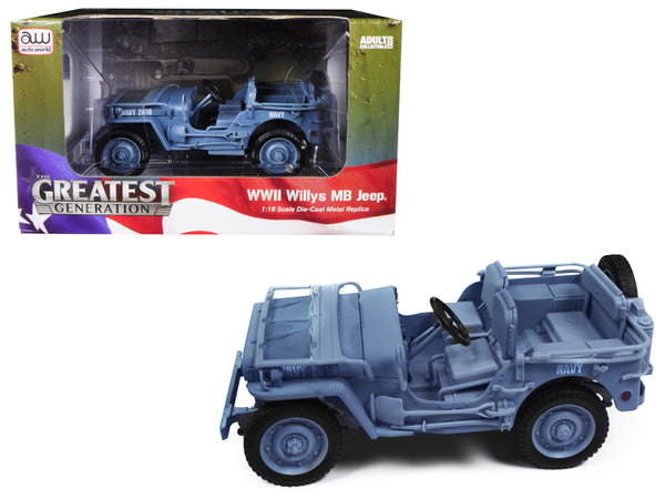 1941 Willys MB WWII US Navy Jeep Blue/Grey 1/18 Diecast Model Car by Autoworld