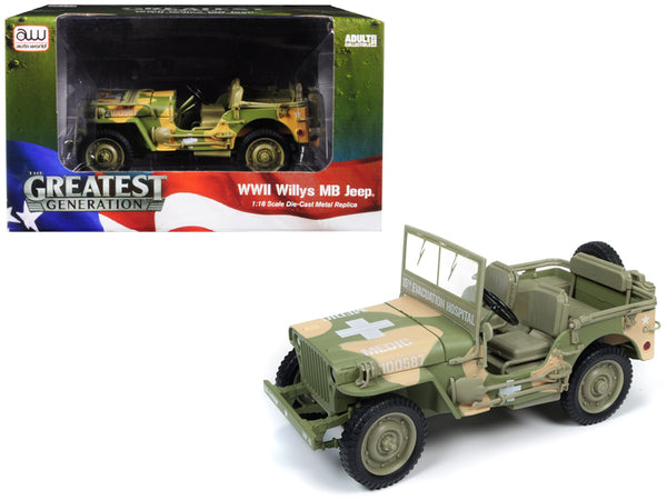 1941 Willys MB Jeep WWII Army (15th Evacuation Hospital - Medic) Camouflage 1/18 Diecast Model by Autoworld