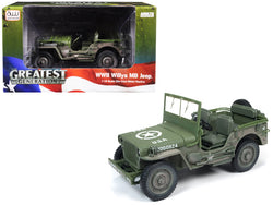 1941 Willys MB Jeep WWII Olive Green Drab (Mud Covered/Dirty) 1/18 Diecast Model by Autoworld