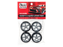Modern 5 Spoke Wheel Pack (Set of 4) for 1/18 Scale Diecast Models by Autoworld
