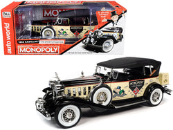 1932 Cadillac V16 Sport Phaeton Convertible and Mr. Monopoly Resin Figure 1/18 Diecast Model Car by Autoworld