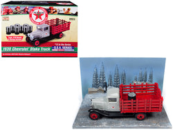 "1930 Chevrolet Stake Truck with Eight Oil Barrels and Oil Derricks Diorama ""Texaco"" #12 in the ""U.S.A. Series"" 1/43 Diecast Model by Autoworld"