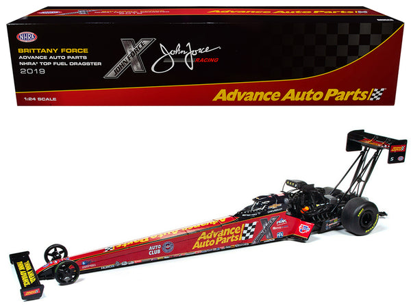 "2019 Top Fuel Dragster TFD NHRA Brittany Force ""Advance Auto Parts"" John Force Racing 1/24 Diecast Model Car by Autoworld"
