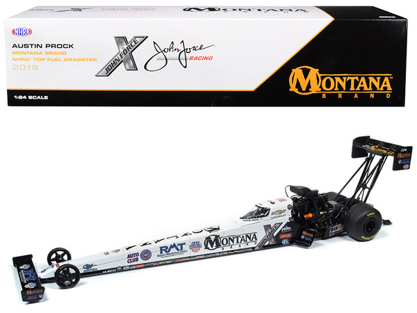 "2019 Top Fuel Dragster TFD NHRA Austin Prock ""Montana Brand"" John Force Racing 1/24 Diecast Model Car by Autoworld"