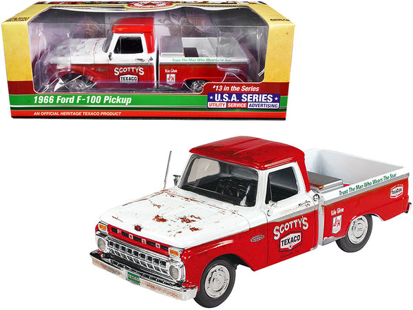 "1966 Ford F-100 Pickup Truck ""Texaco"" Red and White (Unrestored) #13 in the ""U.S.A. Series"" 1/25 Diecast Model by Autoworld"