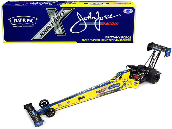 "2020 NHRA Funny Car TFD (Top Fuel Dragster) Brittany Force ""Flav-R-Pac"" John Force Racing 1/24 Diecast Model Car by Autoworld"