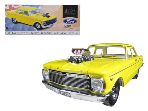 "1965 Ford XP Falcon Yellow ""50th Anniversary"" Limited Edition with Engine Blower 1/18 Diecast Model Car by Greenlight"