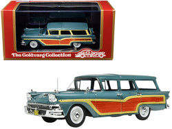 "1958 Ford Country Squire Gulfstream Blue with Woodgrain Panels and ""Vote for Nixon"" Bumper Sticker Limited Edition to 220 pieces Worldwide 1/43 Model Car by Goldvarg Collection"