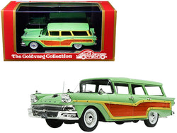 "1958 Ford Country Squire Seaspray Green with Woodgrain Panels and ""Vote for Kennedy"" Bumper Sticker Limited Edition to 235 pieces Worldwide 1/43 Model Car by Goldvarg Collection"