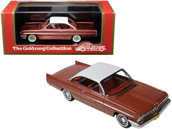 1961 Pontiac Catalina Rose Metallic with White Top and Red Interior Limited Edition to 210 pieces Worldwide 1/43 Model Car by Goldvarg Collection