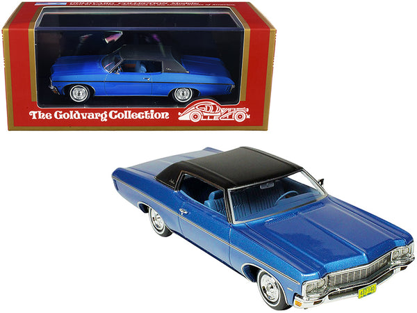 1970 Chevrolet Impala Custom Coupe Mulsanne Blue Metallic with Matte Black Top Limited Edition to 220 pieces Worldwide 1/43 Model Car by Goldvarg Collection