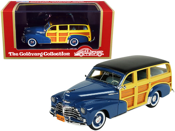 1948 Chevrolet Fleetmaster Woodie Station Wagon Como Blue with Black Top Limited Edition to 240 pieces Worldwide 1/43 Model Car by Goldvarg Collection