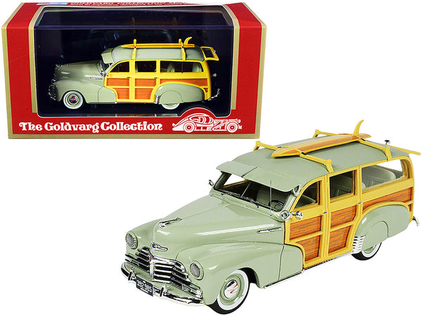 1948 Chevrolet Fleetmaster Woodie Station Wagon with Surfboard Satin Green Limited Edition to 325 pieces Worldwide 1/43 Model Car by Goldvarg Collection