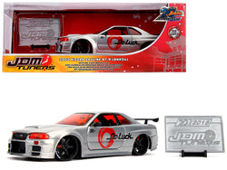 "2002 Nissan Skyline GT-R (BNR34) Raw Metal ""JDM Tuners"" ""Jada 20th Anniversary"" 1/24 Diecast Model Car by Jada"