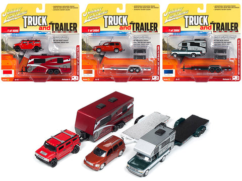 """Truck and Trailer"" Series #3B of a (3 Piece Set) 1/64 Scale Diecast Models by Johnny Lightning"