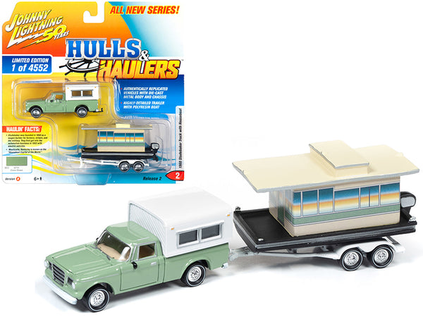 "1960 Studebaker Pickup Truck with Camper Shell Oasis Green with Houseboat Limited Edition to 4,552 pieces Worldwide ""Hulls & Haulers"" Series #2 ""Johnny Lightning 50th Anniversary"" 1/64 DiecastModels by Johnny Lightning"
