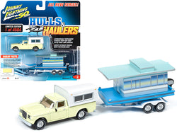 "1960 Studebaker Pickup Truck with Camper Shell Jonquil Yellow with Houseboat Limited Edition to 4,504 pieces Worldwide ""Hulls & Haulers"" Series #2 ""Johnny Lightning 50th Anniversary"" 1/64 Diecast Models by Johnny Lightning"