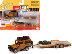 "1980 Toyota Land Cruiser with Open Car Trailer Custom Copper Metallic (Dirty Version) Limited Edition to 2,500 pieces Worldwide ""Truck and Trailer"" Series #1 1/64 Diecast Models by Johnny Lightning"