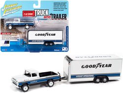 "1959 Ford F-250 Pickup Truck with Enclosed Car Trailer ""Goodyear"" White with Blue and Black Stripes Limited Edition to 2,500 pieces Worldwide ""Truck and Trailer"" Series #1 1/64 Diecast Models by Johnny Lightning"