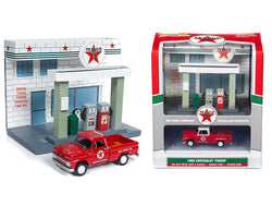 "1965 Chevrolet Pickup Truck and Resin ""Texaco"" Service Station Diorama Set 1/64 Diecast Model by Johnny Lightning"