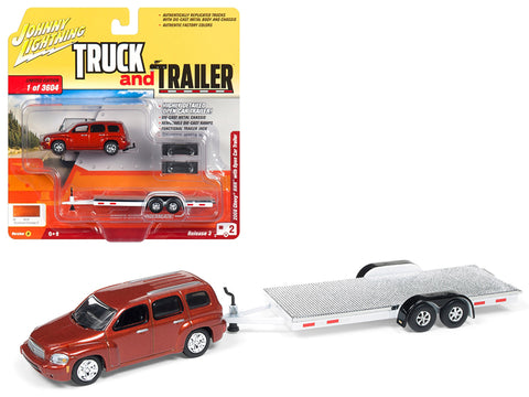 "2006 Chevrolet HHR Daytona Metallic Orange with Chrome Open Car Trailer Limited Edition to 3,604 pieces Worldwide ""Truck and Trailer"" Series #3 1/64 Scale Diecast Models by Johnny Lightning"