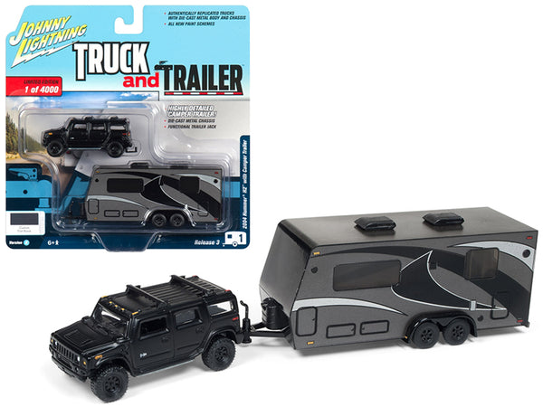"2004 Hummer H2 Black with Gunmetal Camper Trailer Limited Edition to 4,000 pieces Worldwide ""Truck and Trailer"" Series #3 1/64 Diecast Models by Johnny Lightning"