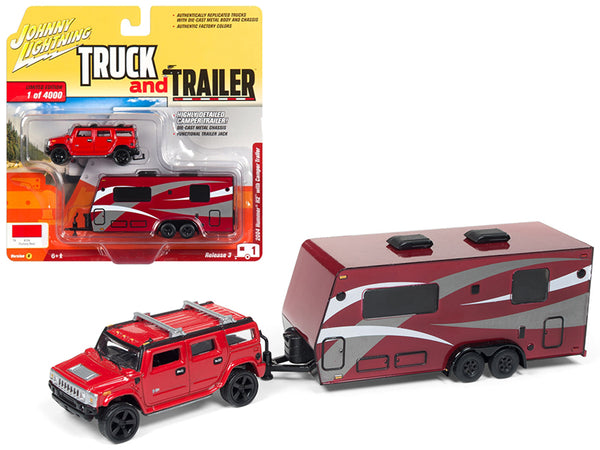 "2004 Hummer H2 Red with Dark Red Camper Trailer Limited Edition to 4,000 pieces Worldwide ""Truck and Trailer"" Series #3 1/64 Diecast Models by Johnny Lightning"