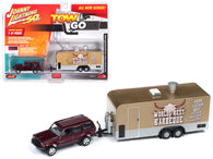 "Jeep Cherokee XJ Sport Claret Red Metallic with Food Concession Trailer Limited Edition to 4,000 pieces Worldwide ""Tow & Go"" Series #1 1/64 Scale Diecast Models by Johnny Lightning"