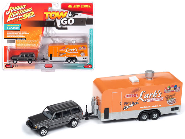 "Jeep Cherokee XJ Sport Dover Gray Metallic with Food Concession Trailer Limited Edition to 4,000 pieces Worldwide ""Tow & Go"" Series #1 1/64 Scale Diecast Models by Johnny Lightning"