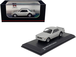 "Nissan Skyline 2000GT-R (KPGC10) Silver ""GT-R 50th Anniversary"" 1/64 Diecast Model Car by Kyosho"