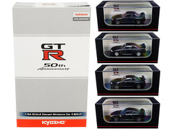 """GT-R 50th Anniversary"" Nissan GT-R Matte Black (4 Car Set) 1/64 Diecast Model Cars by Kyosho"