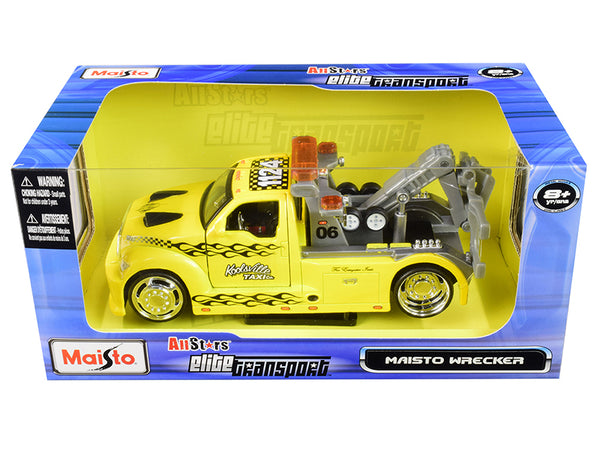 "Maisto Wrecker Tow Truck Yellow ""Koolsville Taxi Co."" ""All Stars Elite Transport"" Series 1/24 Diecast Model by Maisto"
